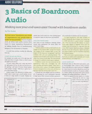 September_2014_AV_Technology_Magazine_Basics_Boardroom_Audio_TimKridel_thumb